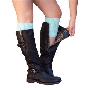 Knit Boot Cuffs In Aqua